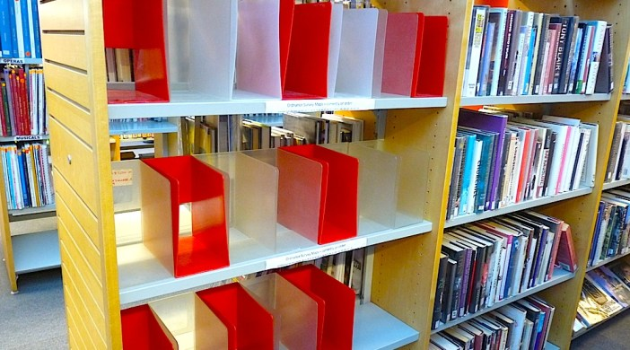 Empty OS map shelves Hackney Central Lib Mare St Lon E8 291214 E8 © david.altheer@gmail.com