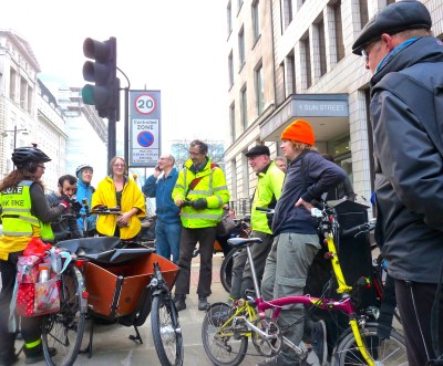 Stop Killing Cyclists organiser Nicola Branch addresses CS1 (cycle superhighway 1) preview for Hackney People on Bikes 170315 © david.altheer@gmail.com