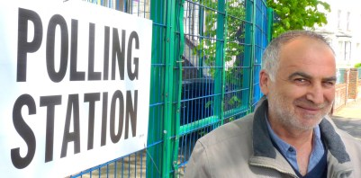 Vote: Ali Agir in Colvestone Cres Dalston Hackney elections and disenfranchised voter scandal UK general election London E8 070515 © DavidAltheer@gma