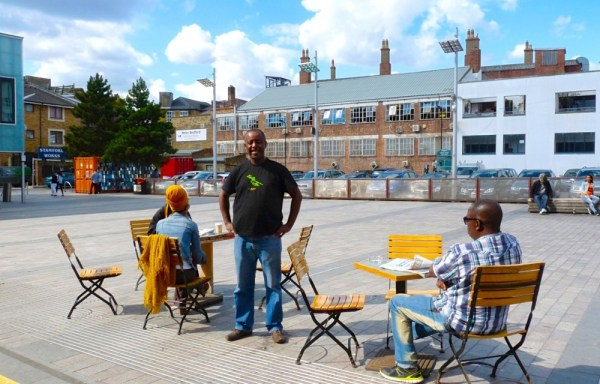 Ethiopian-born coffee barista Marcos at Gillett Square Dalston Hackney N16 8JH 220814 © David Altheer