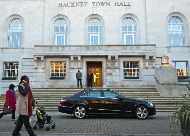 Unrequested repro will be pursued legally if nec:Hackney town hall & limo E8 311014 © david.altheer@gmail.com