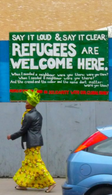 Refugee sign opp Dalston Junction overground station, Dalston Lane, London E8 060316 © DavidAltheer [at] gmail.com