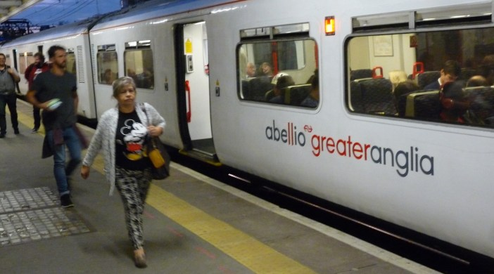 Abellio train on the Greater Anglia route takes off from Hackney Downs London E8 110816 © david.altheer at gmail.com