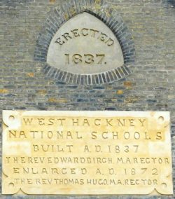 Plaque at Grange Hall flats conversion of 1837 West Hackney Parochial School Evering Rd Stoke Newington © Hackney Archives LBH 221116 © DavidAltheer [at] gmail.com