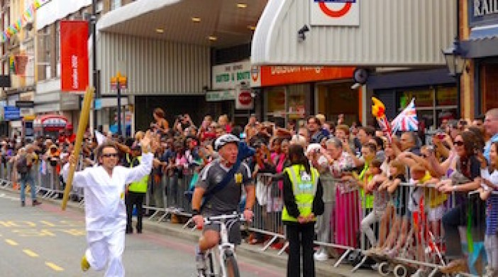Kingslandstation: London 2012 Olympics torch in Kingsland High St Lon E8 Sat 21 July © David Altheer