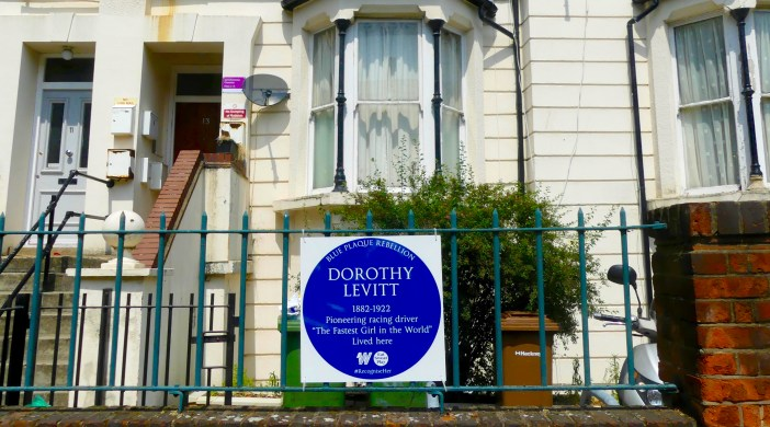 Levitt0617: badge for woman racing driver Blue Plaque Rebellion Dalston 210617 © David Altheer