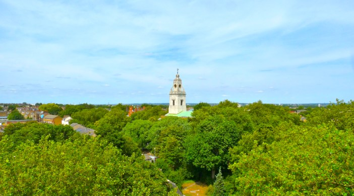 View from St Augustine's tower: St-John-at-Hackney's spire looms above the greeneryFrom St Augustine's tower: NE London, St John-at-Hackney church Clapton 180715 © DavidAltheer@gmail.com
