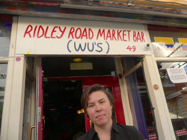 KerryMaisey©DA18: owner of Wu's Market Bar, 49 Ridley Road (N side) Dalston E8 241018 © david.altheer@gmail.co