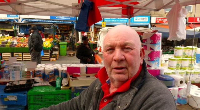 LarryJulian©DA15: chairman, Ridley Road Traders' Association, at his stall SW end of market 061012 © david.altheer@gmail.com