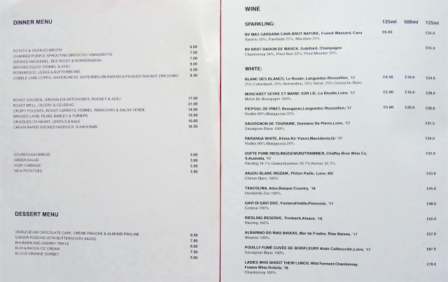 menu©DA19: Earth Kitchen menu and wine list  180219 © David.Altheer@gmail.com