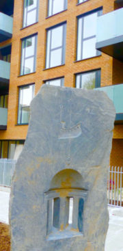 HaggBathsArt©DA16: Sculpture reference to Haggerston Baths ship symbol in a nearby housing development Hackney London 2016 © david.altheer[ at ]gmail.co
