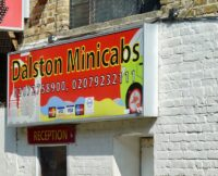 Carleen©DA21: © david,altheer@gmail,com, overpainted art work of N Lon artist Carleen De Sözer commissioned by Ali Hussain for wall of Dalston Minicabs, Winchester Place, Hackney E8 2PG, 240421