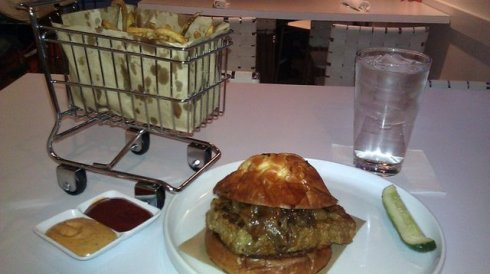 Meatloaf burger and fries