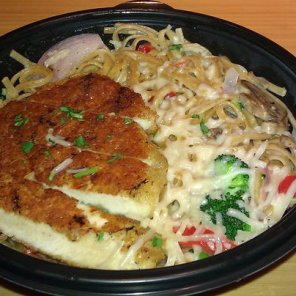 Whole Grain Tuscan Linguine w/parmesan-crusted chicken
