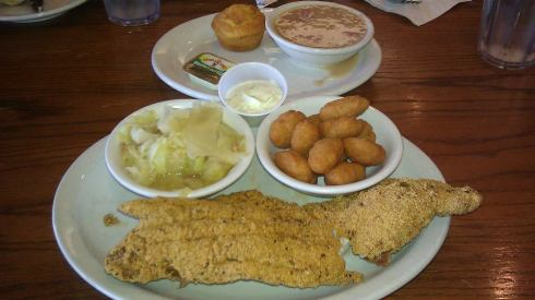 Catfish Dinner at the diner