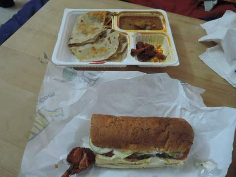 Indian food & Subway sandwich