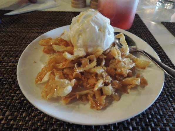 Fried honey noodles and ice cream