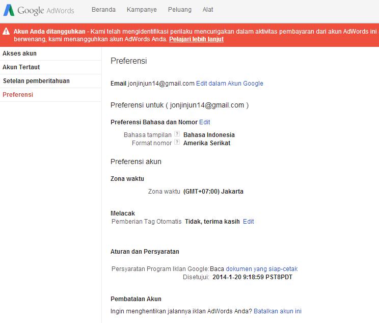 cara melakukan pembatalan akun google adword