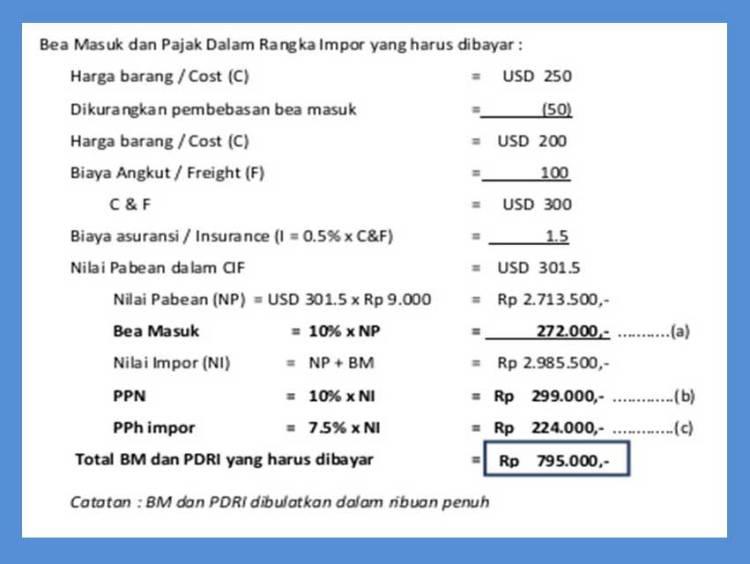 contoh detail biaya pajak impor bea cukai