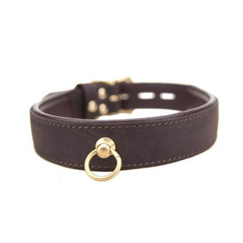 Bound Nubuck Leather Bondage Collar with O RIng