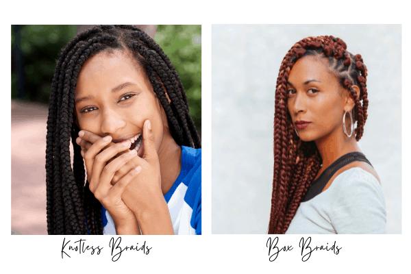 knotless braids vs box braids