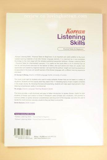 Koreal listening skills practical tasks for beginners back cover ISBN 9788927730033