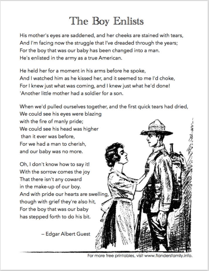 "Free Printable Version of Edgar Albert Guest's wonderful poem, ""The Boy Enlists"""