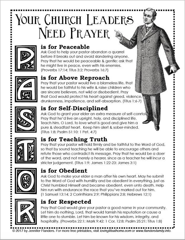 PRAY FOR YOUR PASTOR: free printable prayer guide from lovinglifeathome.com