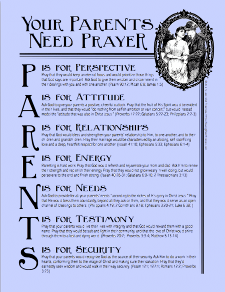 Your Parents Need Prayer   another free printable prayer guide from Loving Life at Home