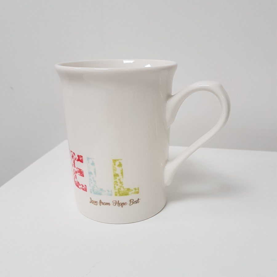 Floral mug with personalised message