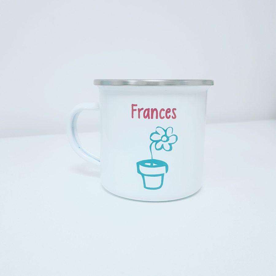 Enamel mug with flower design