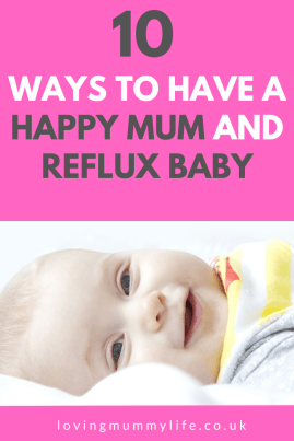 happy mum and reflux baby