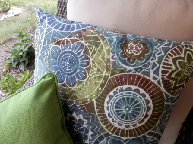 Bright colorful pillows for outdoor furniture.