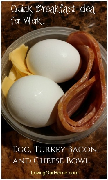 Microwaved Egg Turkey Bacon and Cheese Breakfast Bowl