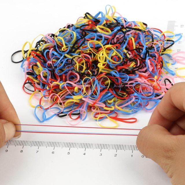 1000pcs/bag Colorful Rings Hairband Rope Silicone Ponytail Holder Rubber Band Scrunchies Tie Gum Girls Hair Accessories