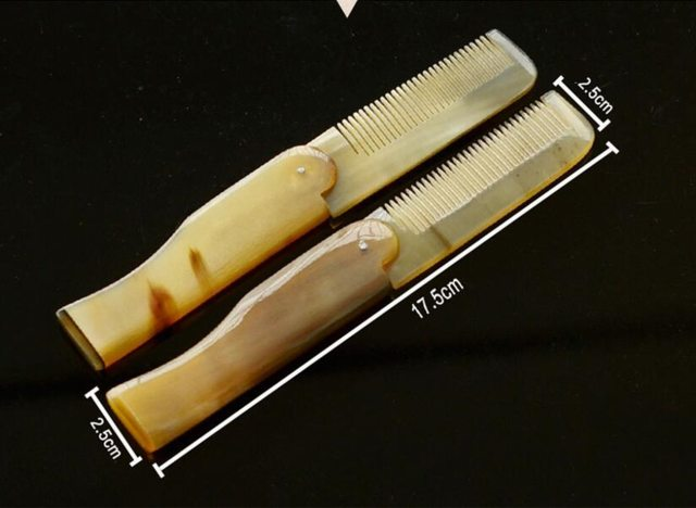 1 Pc Yak Horn Comb Foldable Pocket Clip Moustache & Beard Comb