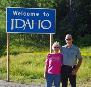 Under the Idaho sign!