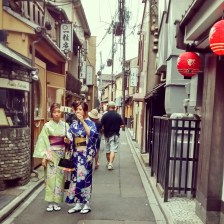Pretend geishas in Ponto-cho