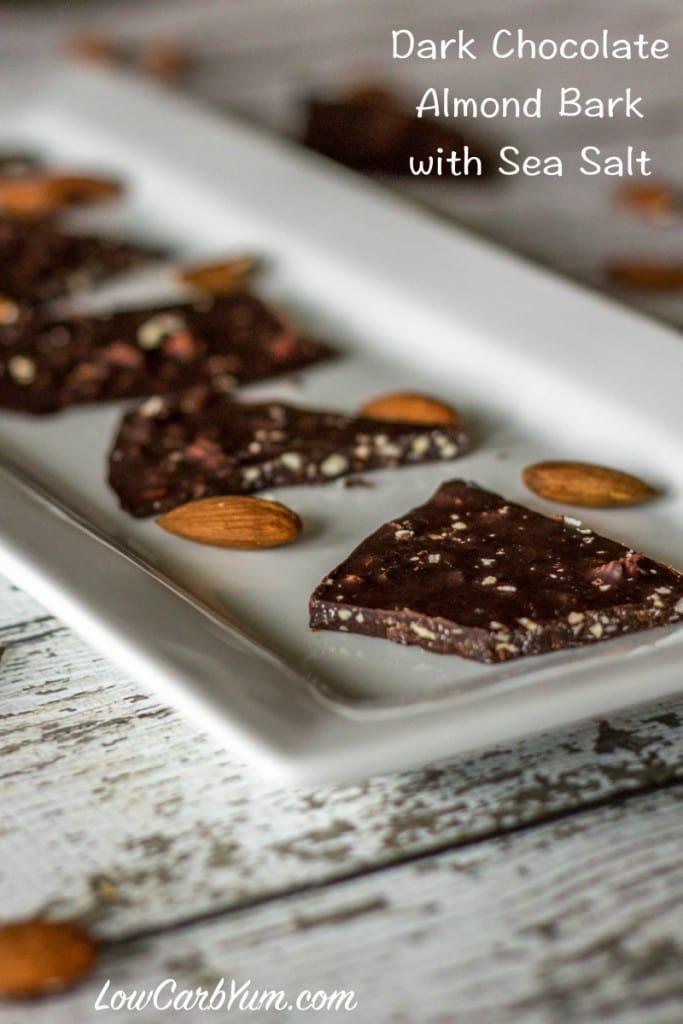 DARK CHOCOLATE ALMOND BARK WITH SEA SALT