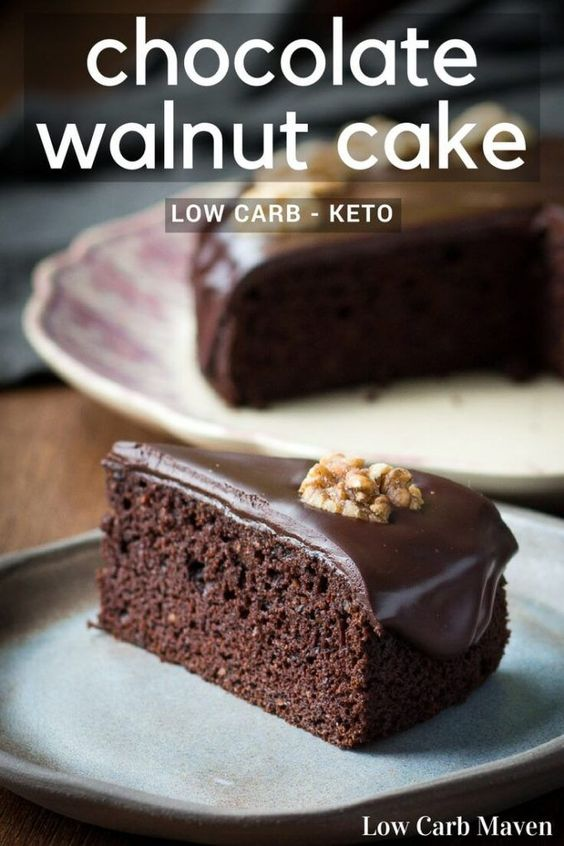 Moist Chocolate Walnut Cake is a standout low carb chocolate cake recipe.