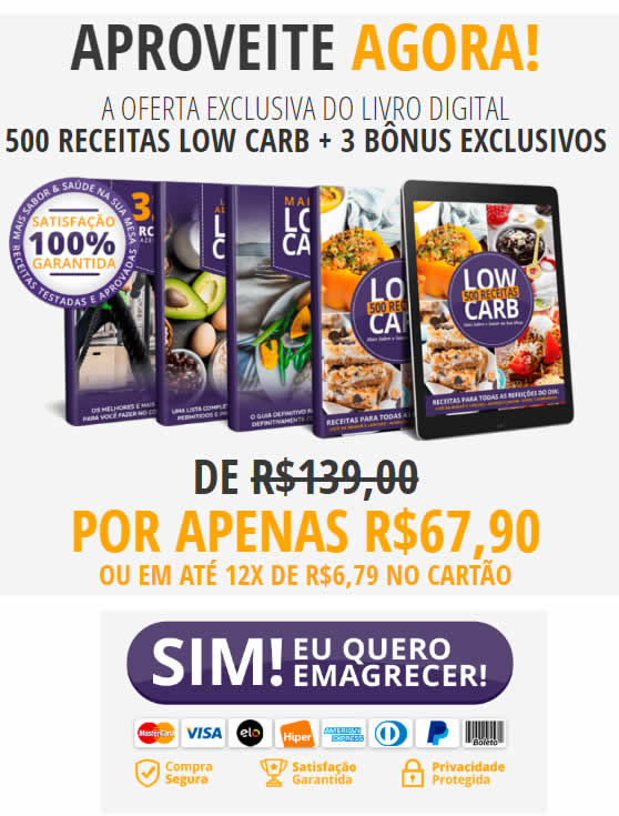 Livro E-book 500 receitas Low carb