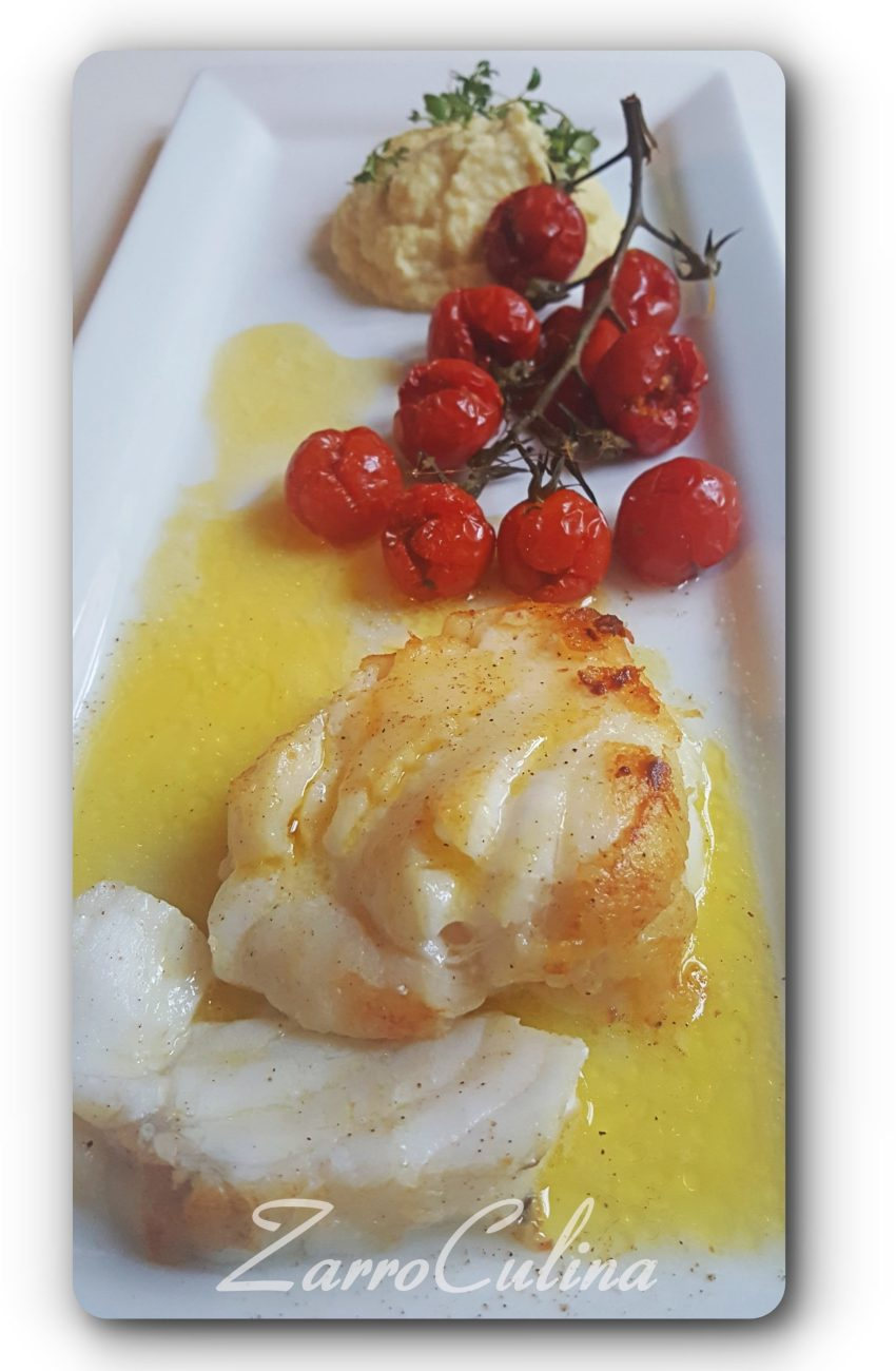 Seeteufel mit konfierten Tomaten und Selleriepürree