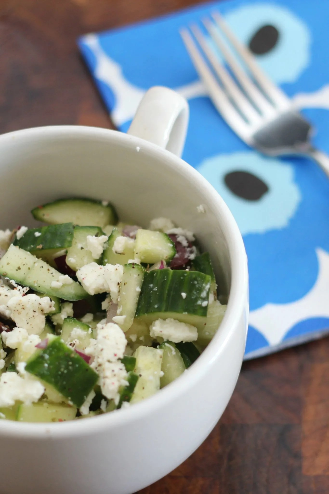 Cucumber, olive and feta salad, low in carbs, high in flavor