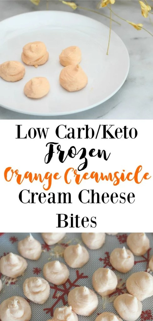 These low carb / keto Frozen Orange Creamsicle Cream Cheese Bites are a satisfying sweet treat with less than 1 carb per serving. Keep them in the freezer for when a snack attack hits! #keto #lowcarb #glutenfree #ketodinner #lowcarbsnack #ketorecipe #lowcarbrecipe #fatbomb #simpleketorecipe #easyketorecipe