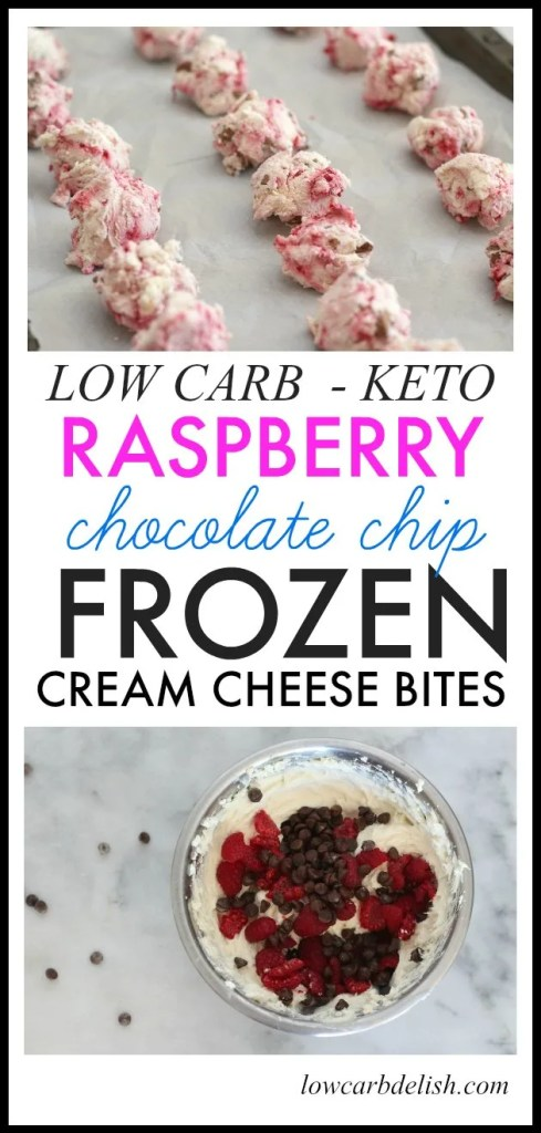 These raspberry chocolate chip frozen cream cheese bites are a great low carb snack! They are awesome for cooling off in the summer and for when that need for sweet hits! #keto #lowcarb #fatbombs