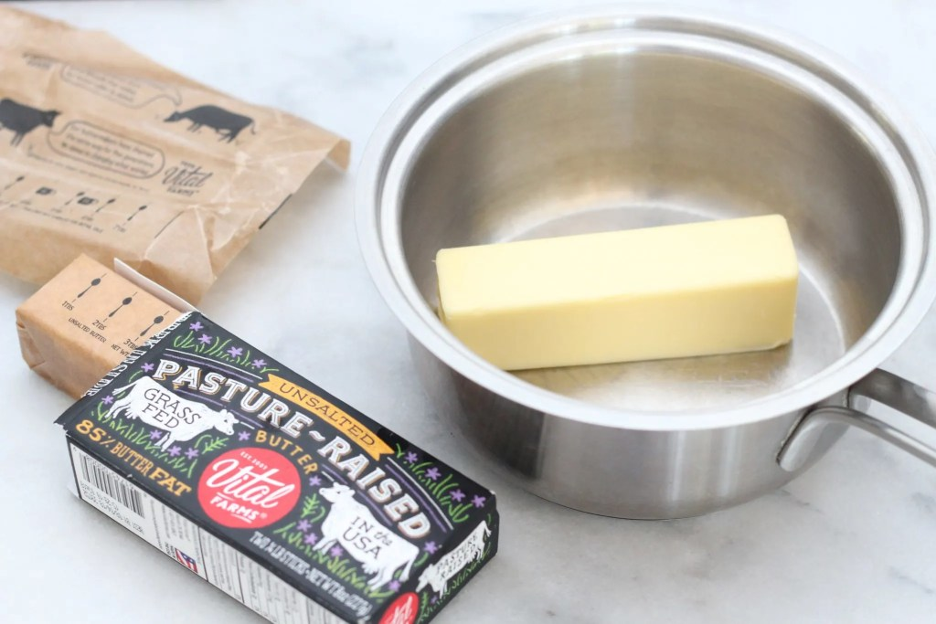 vital farms unsalted butter in a pot