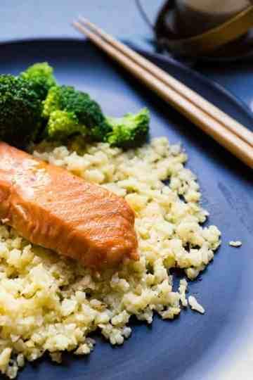keto Miso Salmon Marinade w/Cauliflower Rice cover