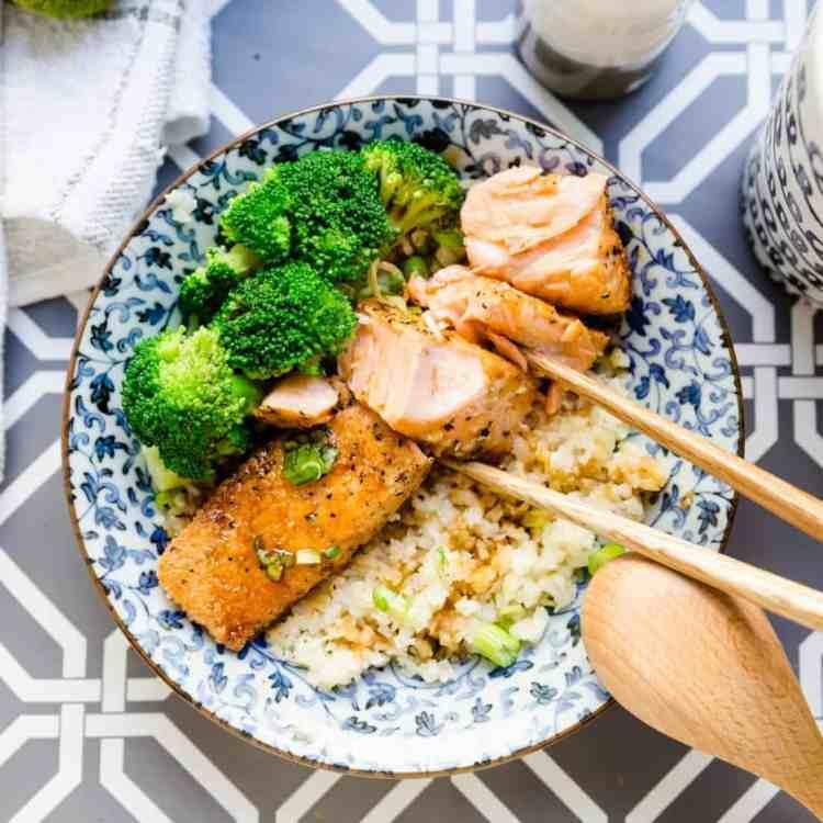 keto Teriyaki Salmon Bowl with Cauliflower Rice cover