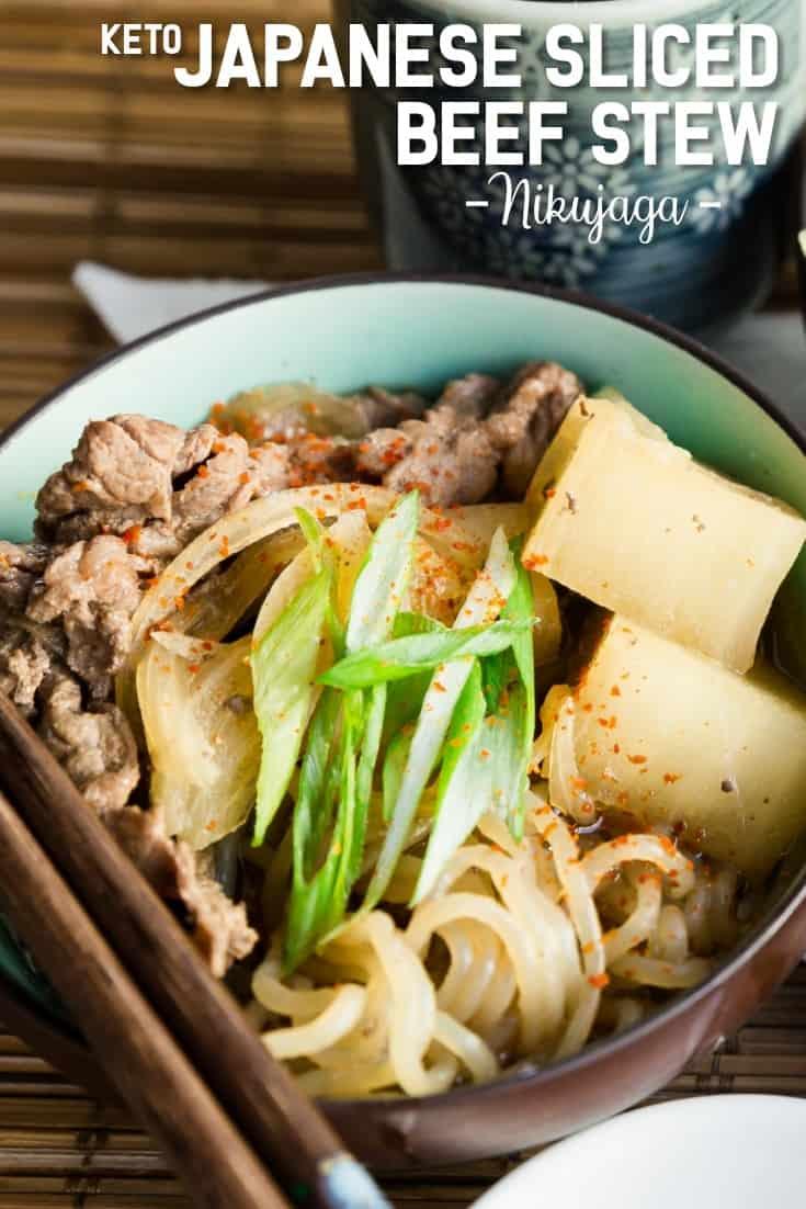 Keto Japanese Sliced Beef Stew Nikujaga LowCarbingAsian Pin 1