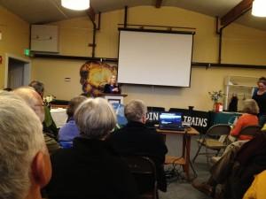 Erika Shriner of Coal-Free Bainbridge kicks off event.